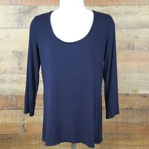 Anne Klein Blouse Top Women's Size S Dark Blue ZB1
